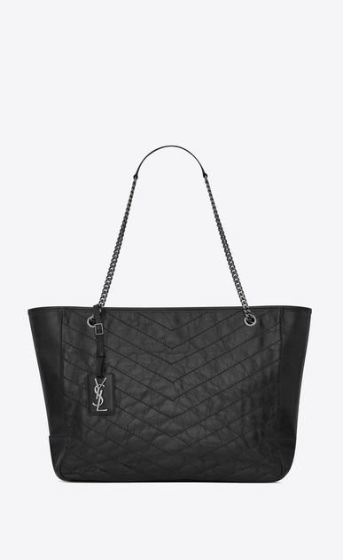 large niki shopping bag in crinkled and quilted black leather