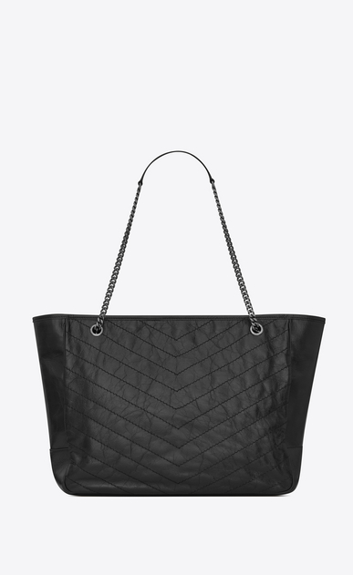 SAINT LAURENT Niki bags Woman large niki shopping bag in crinkled and quilted black leather b_V4
