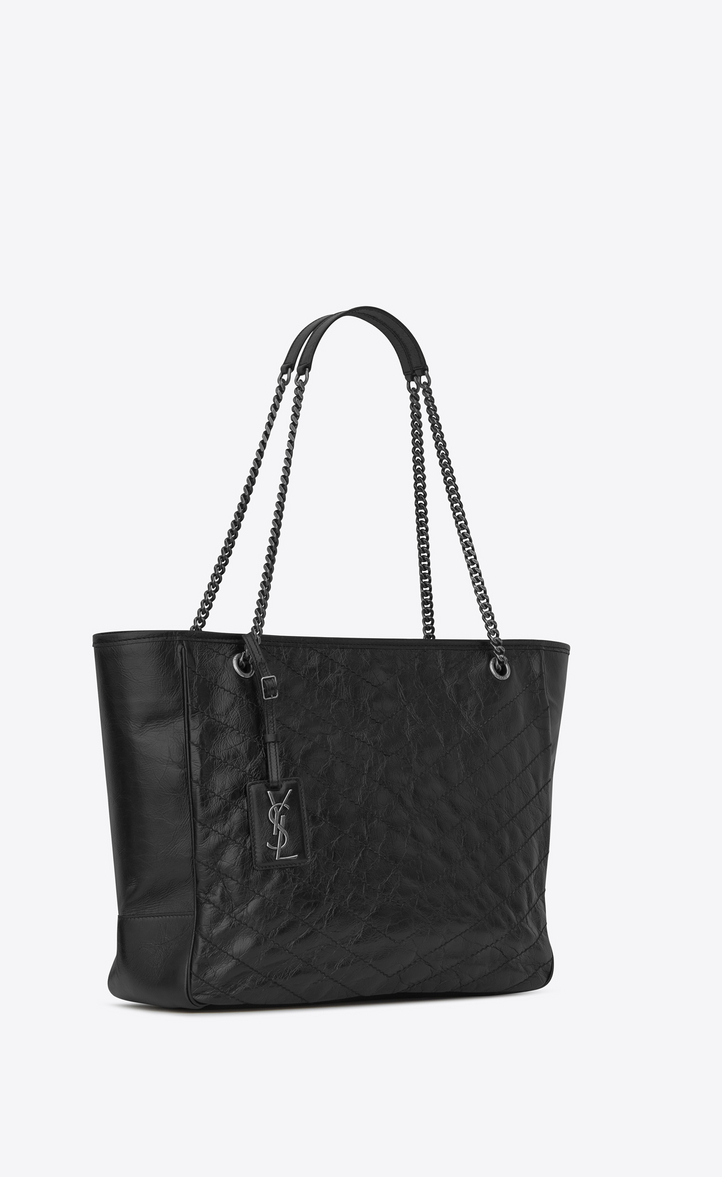 Saint Laurent Large Niki Shopping Bag In Crinkled And