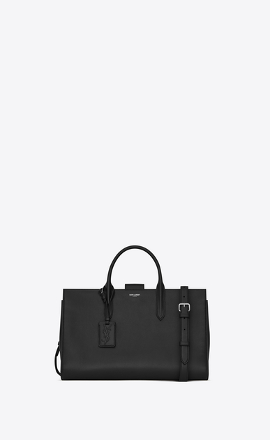 SAINT LAURENT Debbie D Large DEBBIE tote bag in black leather a_V4