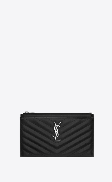 SAINT LAURENT Monogram Matelassé Woman pouch in black textured quilted leather a_V4