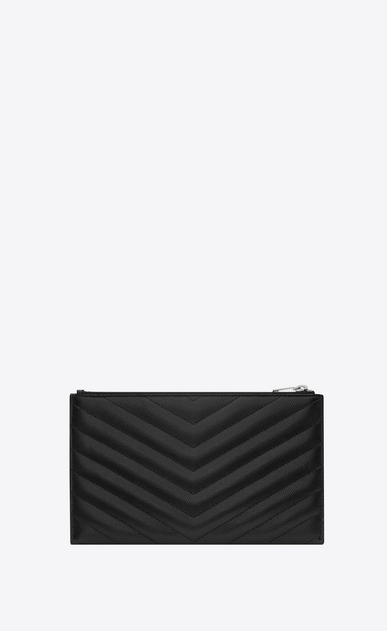 SAINT LAURENT Monogram Matelassé Woman pouch in black textured quilted leather b_V4
