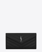 "SAINT LAURENT Monogram Matelassé D Large LOULOU wallet with a flap in shiny black leather with ""Y"" quilting f"