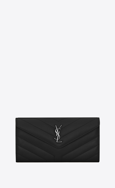 "SAINT LAURENT Loulou SLG D Large LOULOU wallet with a flap in shiny black leather with ""Y"" quilting a_V4"