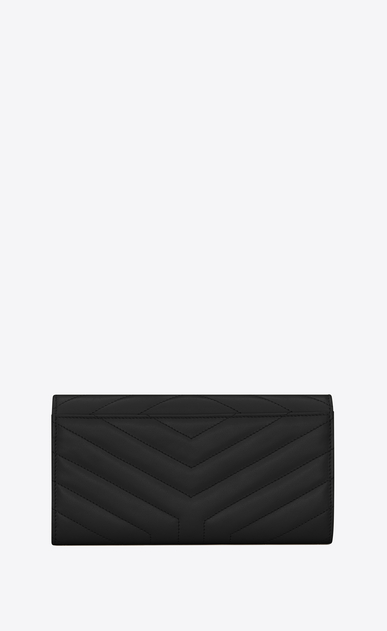 "SAINT LAURENT Loulou SLG D Large LOULOU wallet with a flap in shiny black leather with ""Y"" quilting b_V4"