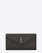 "SAINT LAURENT Monogram Matelassé D Large LOULOU wallet with a flap in shiny asphalt gray leather with ""Y"" quilting f"