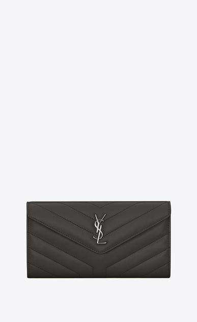 "SAINT LAURENT Loulou SLG レディース Large LOULOU wallet with a flap in shiny asphalt gray leather with ""Y"" quilting a_V4"