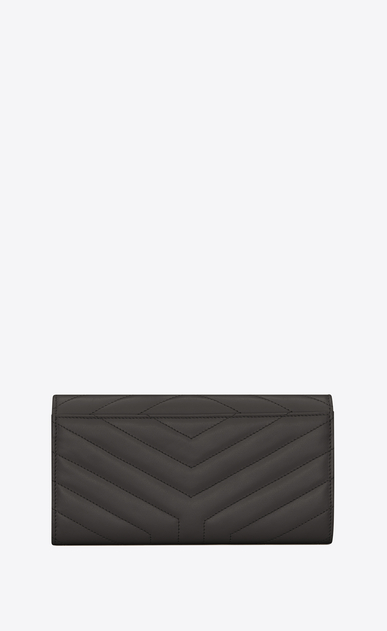 "SAINT LAURENT Loulou SLG D Large LOULOU wallet with a flap in shiny asphalt gray leather with ""Y"" quilting b_V4"