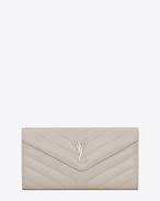 "SAINT LAURENT Monogram Matelassé D Large LOULOU wallet with a flap in shiny ivory leather with ""Y"" quilting f"