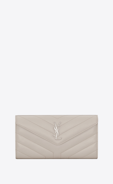 "SAINT LAURENT Loulou SLG D Large LOULOU wallet with a flap in shiny ivory leather with ""Y"" quilting a_V4"