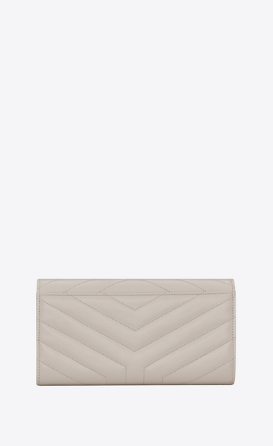 "SAINT LAURENT Loulou SLG D Large LOULOU wallet with a flap in shiny ivory leather with ""Y"" quilting b_V4"