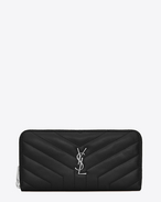 "SAINT LAURENT Monogram Matelassé D LOULOU zip around wallet in shiny black leather with ""Y"" quilting f"