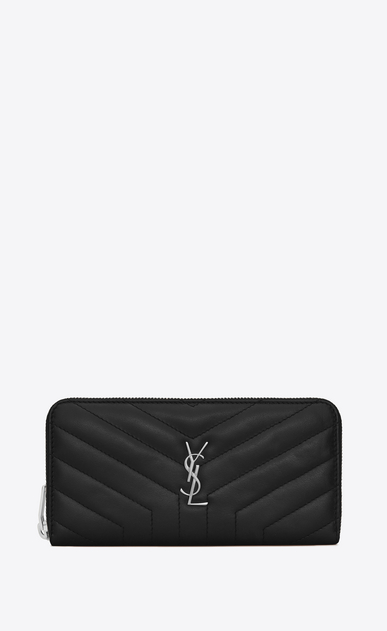 "SAINT LAURENT Loulou SLG D LOULOU zip around wallet in shiny black leather with ""Y"" quilting a_V4"