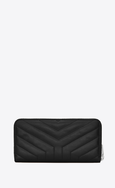"SAINT LAURENT Loulou SLG D LOULOU zip around wallet in shiny black leather with ""Y"" quilting b_V4"
