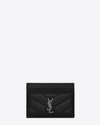 "SAINT LAURENT Monogram Matelassé D LOULOU credit card case in shiny black leather with ""Y"" quilting f"