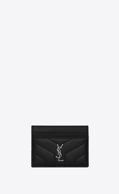 "SAINT LAURENT Loulou SLG D LOULOU credit card case in shiny black leather with ""Y"" quilting a_V4"