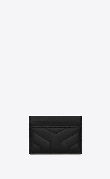 "SAINT LAURENT Loulou SLG Woman LOULOU credit card case in shiny black leather with ""Y"" quilting b_V4"