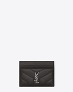 "SAINT LAURENT Monogram Matelassé D LOULOU credit card case in shiny asphalt gray leather with ""Y"" quilting f"