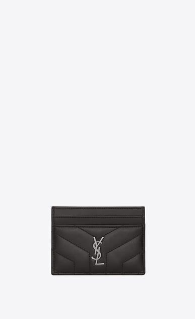 "SAINT LAURENT Loulou SLG Woman LOULOU credit card case in shiny asphalt gray leather with ""Y"" quilting a_V4"