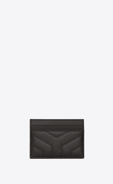 "SAINT LAURENT Loulou SLG D LOULOU credit card case in shiny asphalt gray leather with ""Y"" quilting b_V4"