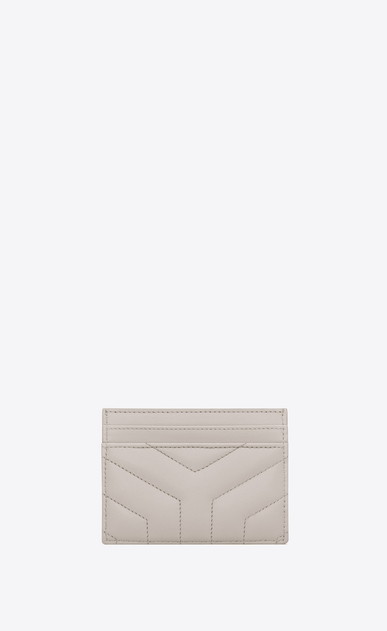 "SAINT LAURENT Loulou SLG Woman loulou credit card case in shiny ivory leather with ""y"" quilting b_V4"