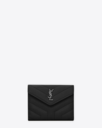 "SAINT LAURENT Monogram Matelassé D LOULOU compact wallet in shiny black leather with ""Y"" quilting f"