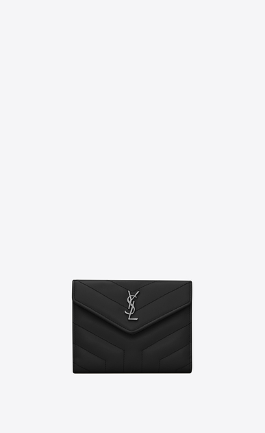"SAINT LAURENT Loulou SLG D LOULOU compact wallet in shiny black leather with ""Y"" quilting a_V4"
