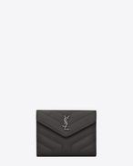 "SAINT LAURENT Monogram Matelassé D LOULOU compact wallet in shiny asphalt gray leather with ""Y"" quilting f"