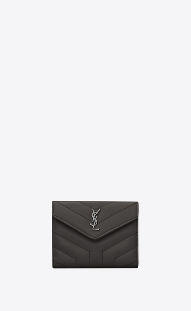 "SAINT LAURENT Loulou SLG Woman LOULOU compact wallet in shiny asphalt gray leather with ""Y"" quilting a_V4"