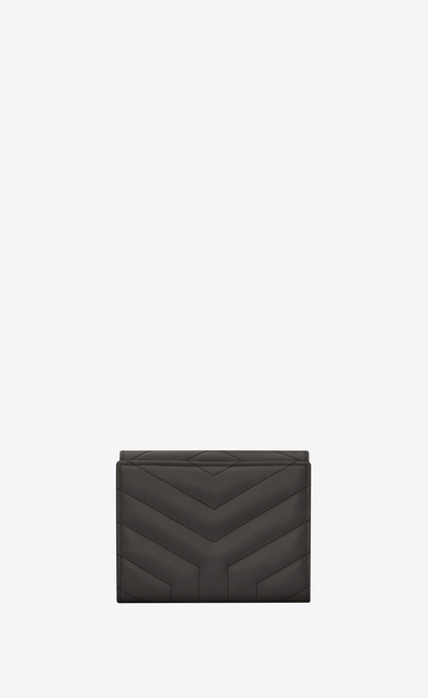 "SAINT LAURENT Loulou SLG D LOULOU compact wallet in shiny asphalt gray leather with ""Y"" quilting b_V4"