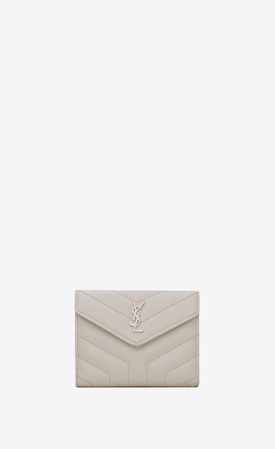 "SAINT LAURENT Loulou SLG D LOULOU compact wallet in shiny ivory leather with ""Y"" quilting a_V4"