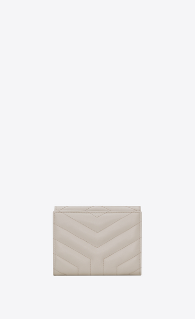 "SAINT LAURENT Loulou SLG D LOULOU compact wallet in shiny ivory leather with ""Y"" quilting b_V4"