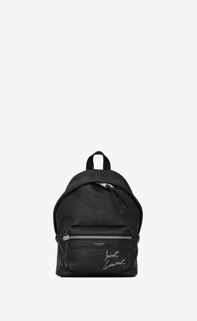 SAINT LAURENT City Backpack D Mini TOY CITY embroidered backpack in black leather a_V4