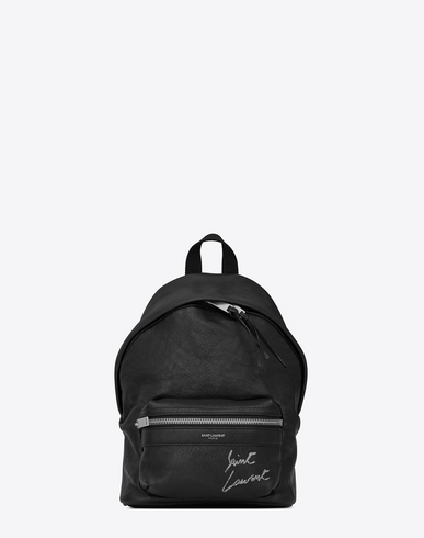 MINI TOY CITY EMBROIDERED BACKPACK IN BLACK LEATHER