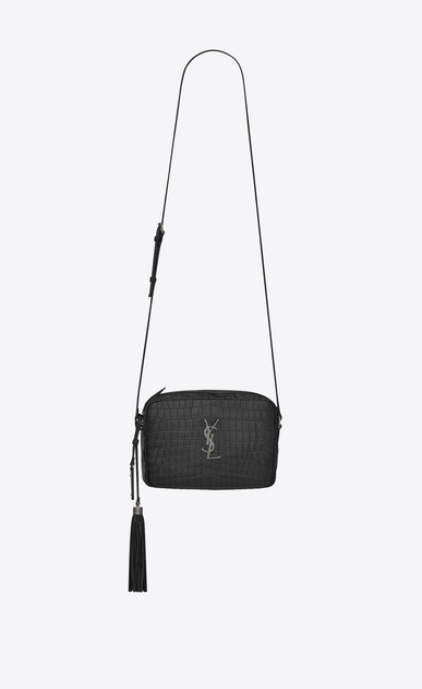 SAINT LAURENT Camera bag Woman LOU camera bag in matte black crocodile-embossed leather a_V4