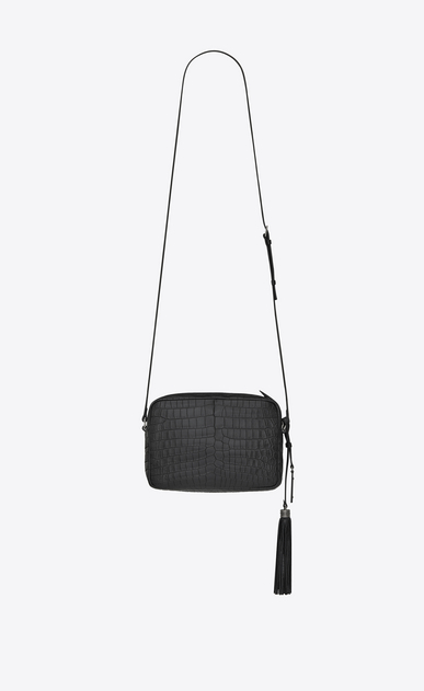 SAINT LAURENT Camera bag Woman LOU camera bag in matte black crocodile-embossed leather b_V4