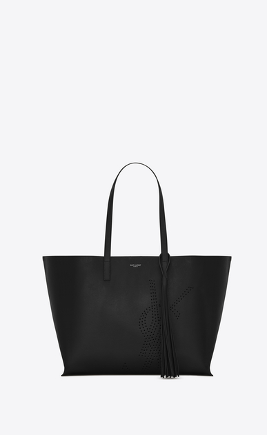 SAINT LAURENT Shopping Saint Laurent E/O D Sac SHOPPING pompon en cuir vintage perforé noir a_V4