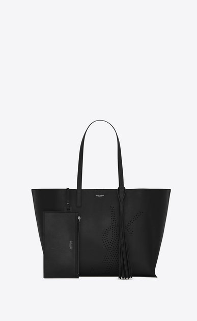 SAINT LAURENT Shopping Saint Laurent E/O D Sac SHOPPING pompon en cuir vintage perforé noir b_V4