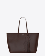 SAINT LAURENT Shopping Saint Laurent E/W D Tassel SHOPPING bag in chocolate perforated vintage leather f