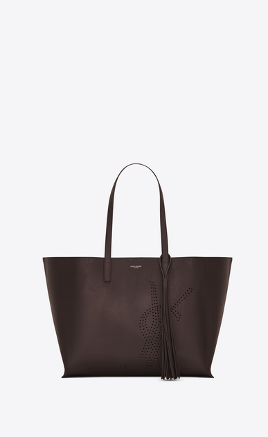 SAINT LAURENT Shopping Saint Laurent E/O D Sac SHOPPING pompon en cuir vintage perforé chocolat a_V4