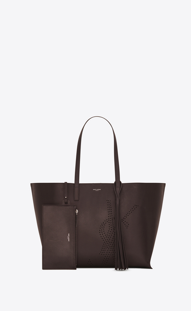SAINT LAURENT Shopping Saint Laurent E/O Femme Sac SHOPPING pompon en cuir vintage perforé chocolat b_V4