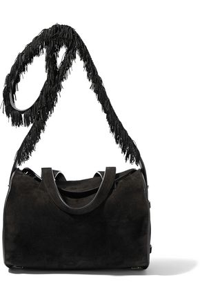 THE ROW Drum fringed textured leather-trimmed suede shoulder bag
