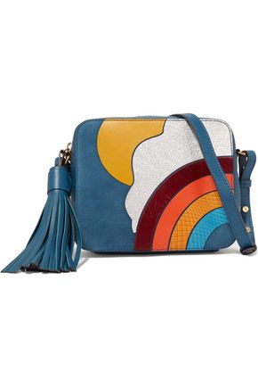 ANYA HINDMARCH Paneled ayers, calf hair and leather shoulder bag