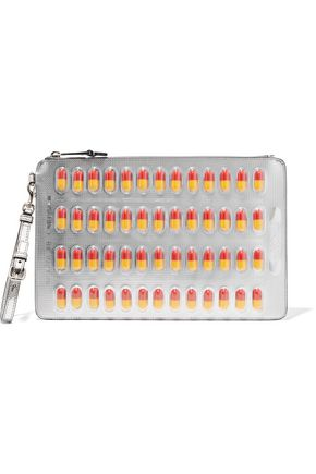 MOSCHINO Embellished metallic faux leather clutch