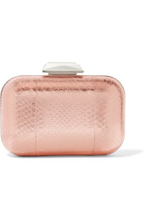 JIMMY CHOO LONDON Cloud embellished metallic elaphe clutch