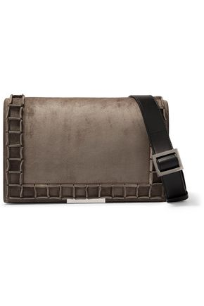TOMASINI  Paris Roma leather-trimmed suede shoulder bag