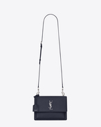 SAINT LAURENT Sunset D sac medium sunset en cuir grainé bleu marine f