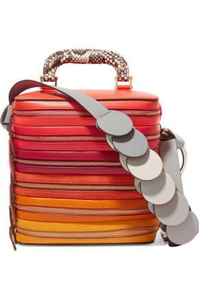 ANYA HINDMARCH Circle Six Zip Stack snake-trimmed leather and suede shoulder bag
