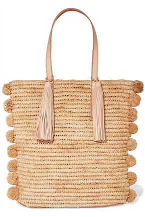 LOEFFLER RANDALL Cruise pompom-embellished leather-trimmed woven raffia tote