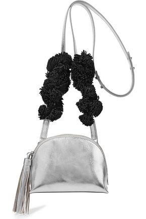 LOEFFLER RANDALL Suede-trimmed metallic textured-leather shoulder bag